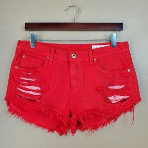 Pistola Distressed Cutoff Red Denim Shorts